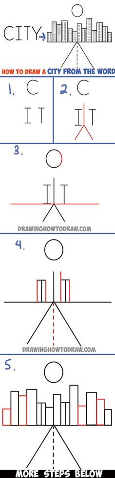 Learn How to Draw a City from the Word City : Word Cartoon Step by Step Drawing Lesson for Kids