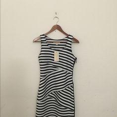 NWT Michael Kors black  and white dress Darling Michael Kors black and white striped mini dress... Body con style ... So figure flattering! NWT Michael Kors Dresses Mini