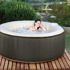 The Therma Spa is an easy-to-use portable hot tub that can accommodate up to four adults. Great for relaxing or thermal therapy, the spa inflates in minutes, simply fill the spa with your garden hose, turn on the heater, and enjoy.
