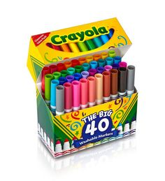 Buy Crayola Washable Markers - The Big 40 online and save! These ultra-clean washable markers are specially formulated with ColorMax technology to deliver vivid colours. They have a versatile tip to draw both . Easy Crafts For Kids, Gifts For Kids, Kids Diy, Accessoires Ipad, Crayola Supertips, Cool School Supplies, Washable Paint, Stabilo Boss, Preschool Crafts