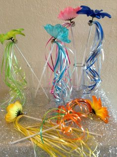6 Tinkerbell and Periwinkle and Fairy Friends Fairy Flower Wands Party Favors