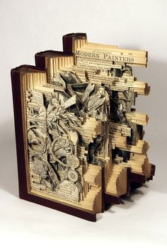Using knives, tweezers and surgical tools, Brian Dettmer carves one page at a time. Nothing inside the out-of-date encyclopedias, medical journals, illustration books, or dictionaries is relocated or implanted, only removed. Dettmer manipulates the pages and spines to form the shape of his sculptures. He also folds, bends, rolls, and stacks multiple books to create completely original sculptural forms.