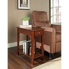 @Overstock - This functional end table has a beautiful espresso wood finish and a pull-out drawer for storage. The living space accent piece is ideal for use as a phone table, lamp table, decorative display table, or book shelf.http://www.overstock.com/Home-Garden/Espresso-Finish-Wood-Chair-Side-End-Table-With-Drawer/6820107/product.html?CID=214117 $99.99