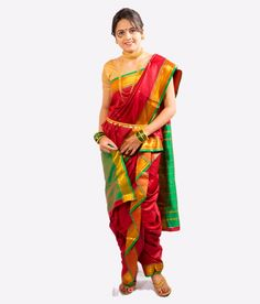 The peshwai saree, The most famous and traditionally rich nauvari saree. Red color is looking fabulous giving a rich glow.