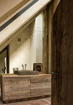 rustikale badezimmer design ideen holz waschtisch schrank