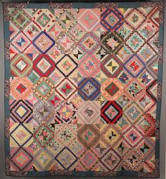 East Tennessee pieced quilt seen at auction. Colorful cottons. 1st quarter 20th century.