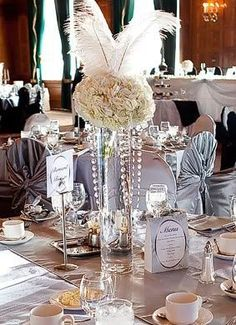 Gatsby Party Ideas | Great Gatsby Party Decorations | Cool centerpiece ...