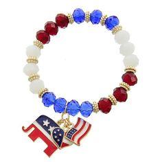 "4th of July Bracelet Gold Tone / Multi Color Glass Crystal & Epoxy / Lead&nickel Compliant / Independence Day / Animal / American Flag & Elephant & Heart Charm / Stretch Bracelet •   SIZE FREE : STRETCH •   WIDTH : 3/8"" •   CHARM : 1"" X 1 3/4""  •   GOLD R.E.A.L Jewelry Jewelry Bracelets"
