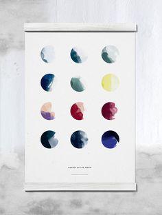 Moon Phases, affisch formgiven av designstudion All The Way To Paris för Paper Collective. Tolv vackra illustrationer visar månens faser. Precis som färgerna förändras med årstiderna förändras även månens färgskala under året.Designen stödjer organisationen TBA.