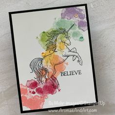 Rainbow Unicorn Card, for any age Horse Cards, Step Cards, Stampin Up Catalog, Stamping Up Cards, Animal Cards, Rainbow Unicorn, Ink Pads, Kids Cards, Baby Cards