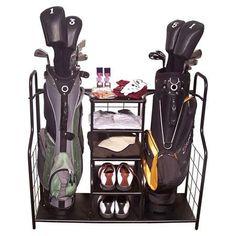 Metal Golf Bag Organizer Storage Clubs Shoe Rack Accessories Garage New