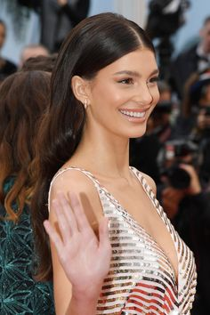 """Camila Morrone Photos – Camila Morrone attends the screening of """"Les Plus Belles Annees D'Une Vie"""" during the annual Cannes Film Festival on May 2019 in Cannes, France. – 'Les Plus Belles Annees D'Une Vie' Red Carpet – The Annual Cannes Film Festival Ball Hairstyles, Sleek Hairstyles, Bride Hairstyles, Down Hairstyles, Red Carpet Hairstyles, Red Carpet Updo, Red Carpet Makeup, Straight Hairstyles, Bridesmaid Hair"""