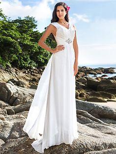 Sheath/Column V-neck Floor-length Chiffon Wedding Dress | LightInTheBox