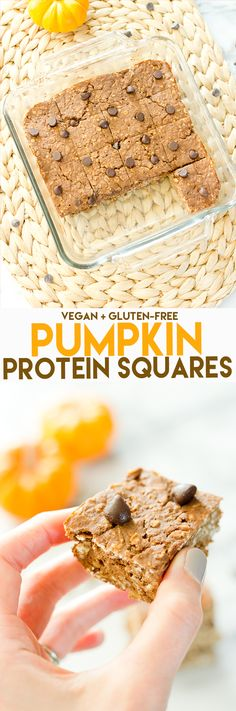 Pumpkin Protein Bars // 60 cals, 5 grams of protein, 7 grams of carbs (Gluten Free Recipes Pumpkin) Protein Snacks, Vegan Protein Bars, High Protein, Protein Cake, Protein Muffins, Protein Cookies, Arbonne Protein Bars, Protein Power, Healthy Protein