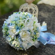 [£ 15.00] Delicate Round Satin Bridal Bouquets (124032159)