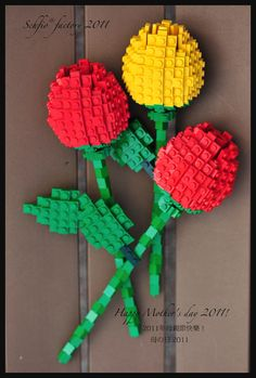 Flowers 40 parts Red with Green Stem x10 Genuine LEGO® Brand new