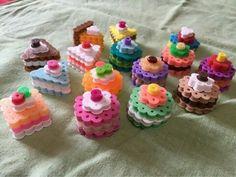 Awe, such sweet looking Perler Bead sweets. Easy Perler Bead Patterns, Melty Bead Patterns, Perler Bead Templates, Diy Perler Beads, Perler Bead Art, Beading Patterns, Hama Beads Kawaii, Loom Patterns, Loom Beading