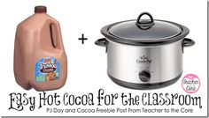 This will change my life! Hello Brilliant! Make hot cocoa for the classroom in a crock pot. PLUS all you need is a gallon of chocolate milk!