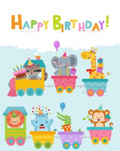 Buy Birthday Animals On Train by PinarInce on GraphicRiver. Cute Birthday Animals On Train Greeting Card. Circus Theme, Animal Birthday, School Pictures, Art Design, Happy Kids, Book Illustration, Graphic, Happy Birthday, Birthday Cake