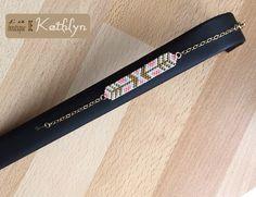Bracelet ARROW saumon blanc et or, tissage main : Bracelet par la-boutique-de-kathlyn
