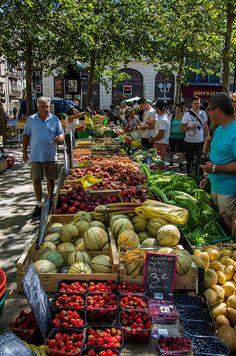 Market, Carcassonne, Languedoc-Roussillon, France / Marché sous les platanes à Carcassonne