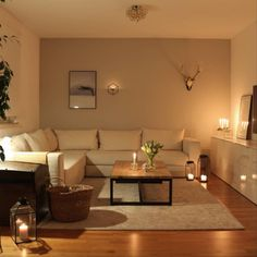 Candles effortlessly create an atmospheric mood. In addition to this rug Jelle provides a lot of cosiness with its velvety soft pile at Source Living Room Decor, Modern, Candles, Mood, Decoration, Create, Interior, Table, Furniture