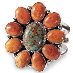 Prickly Pear Flower Cuff.    Flowers of turquoise and apple coral are set in sterling silver.