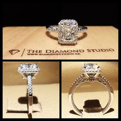 This design was made with a 1.23ct Radiant Cut diamond. The diamond sits on a cut-cornered italian pave halo. The thin shank features diamonds also in an Italian pave setting. The amazing gallery I incorporated some vintage scroll work. As well as my clients initial on one side and his fiancé's on the other. #diamond #diamonds #wedding #weddings #engagement #ring #rings #bride #brides #jewellery #jewelry #halo #radiant #diamondboi