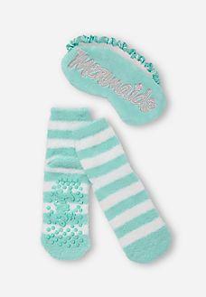 Mermaid Eye Mask & Socks Set Mermaid Eyes, Mermaid Ring, Japanese School Bag, Girls Fashion Clothes, Tween Clothing, Zombie Halloween Makeup, Kids Clothes Sale, Baby Doll Accessories, Princess Aesthetic