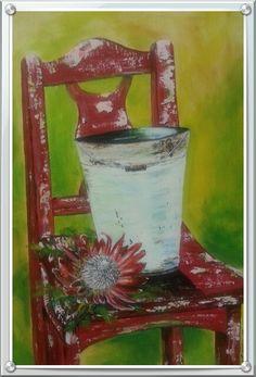 Protea chair by Caren. Acrylics.