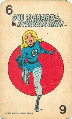 Vintage 1978 Marvel Comics [Group] Superheroes Card Game - Sue Richards | The Invisible Girl