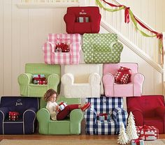 Love these anywhere chairs (we have the light pink with bright pink stitching)