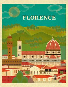 Florence, Italy Skyline Vertical Destination Print - Travel Wall Art - for Home, Office, and Nursery - style E8-O-FLO