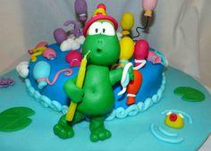 Sapo em grande plano - Bolo de aniversário feito por mim.   - A frog cake