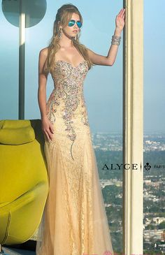 Strapless sweetheart lace prom dress with jewel detailing style #6390