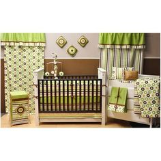 Bacati Mod Dots and Stripes 10-Piece Nursery in a Bag Crib Bedding Set, Green/Yellow/Chocolate - Walmart.com