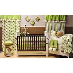 Bacati Mod Dots and Stripes 10-Piece Nursery in a Bag Crib Bedding Set, Green/Yellow/Chocolate - Walmart.com