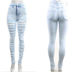 Light blue denium washes destroyed high waisted jeans ($66) ❤ liked on Polyvore featuring jeans, pants, bottoms, distressed jeans, high waisted destroyed jeans, light blue ripped jeans, distressing jeans and light blue high waisted jeans