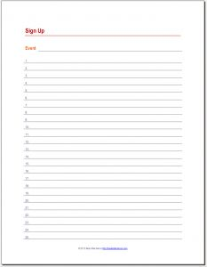 A printable sign-up sheet with room for dates and names ...