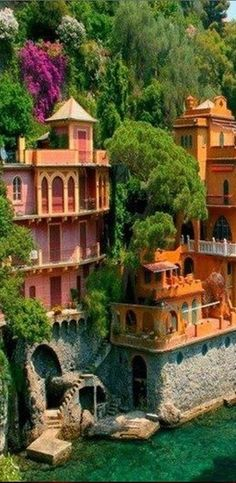 Villas near Portofino, Italy. Portofino is one of my favorite places . Tiny,but packed with delight. Smells of honeysuckle.