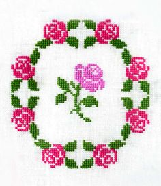 Rose Garden Wreath ~ PDF Cross Stitch Pattern
