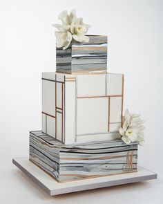 white and grey and gold cake anniversary cake For more cake inspiration check out my 50 Lovely Celebratory Cakes for Wedding, Birthday and Occasions Wedding Cake Prices, Square Wedding Cakes, Square Cakes, Unique Wedding Cakes, Beautiful Wedding Cakes, Wedding Cake Designs, Beautiful Cakes, African Wedding Cakes, Cake Wedding