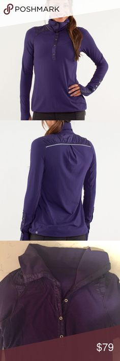 Lululemon Pedal Power Long Sleeve Dense Purple Beautiful color and super soft fabric (Rulu, Circle Mesh).  Cute buttons on the wrist/forearm with thumbholes.  In great, barely used condition.  Here are specs from lululemon:  - The loose cut of this shirt gives you the freedom to move - Thoughtfully placed Circle Mesh panels in high sweat areas help to keep you dry - Reflective details help with visibility in low light - The drop hem with drawcord keeps you covered so you can tuck and ride…