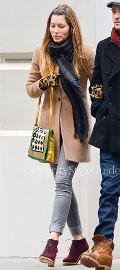 #JessicaBiel wore a camel hair #AllSaints Nikol Coat while out for a stoll with Justin in SoHo March 1, 2013    #CelebrityStyleGuide