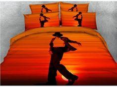 3D Male Dancer at Sunset Cotton 4-Piece Bedding Sets/Duvet Covers