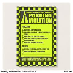 Parking Ticket Green