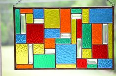 Stained Glass Window Panel Hanging Glass by WindsongGlassStudio, $199.00