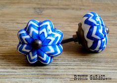 SET OF 2 1.75 Royal Cobalt Blue and White Painted by RusticGarage, $8.00