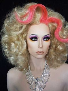 Nicki Minaj Inspired Drag Queen Wig in blonde and pink. Will fit large size heads.