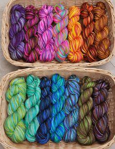 These are hand dyed (not handspun) Merino sock yarn